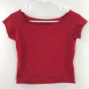 Brandy Melville Red Cropped Tee Size One Size 227